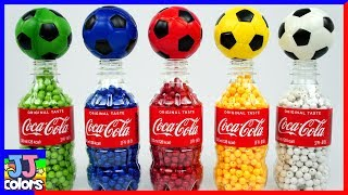 5 Coca Cola Bottles With Beads and color Balls Learn Colors for Kids [JJ colors]