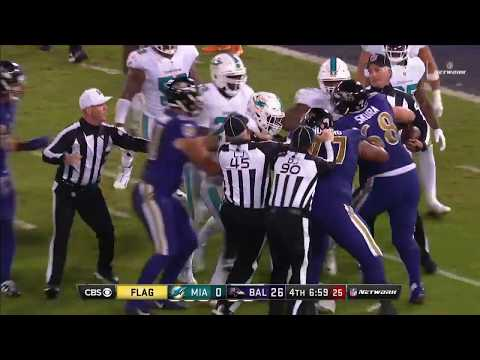 Ndamukong Suh Shoves Ryan Mallett Leading to Fight | Dolphins vs. Ravens | NFL