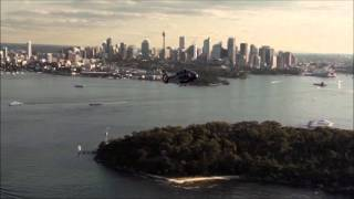 Airbus H145 helicopter landing on Superyacht in Sydney Harbour