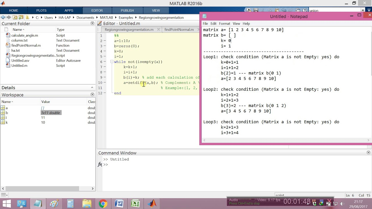 Make a while loop Until a Matrix is Empty in matlab