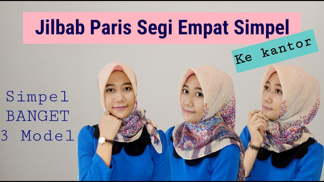 #11 Tutorial Hijab - Cara Pakai Jilbab Segi Empat Simpel Ke Kantor (Simple  Square Hijab For Office)