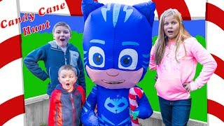 Assistant and Batboy Ryan Candy Cane Hunt with PJ Masks and Paw Patrol with Officer Small