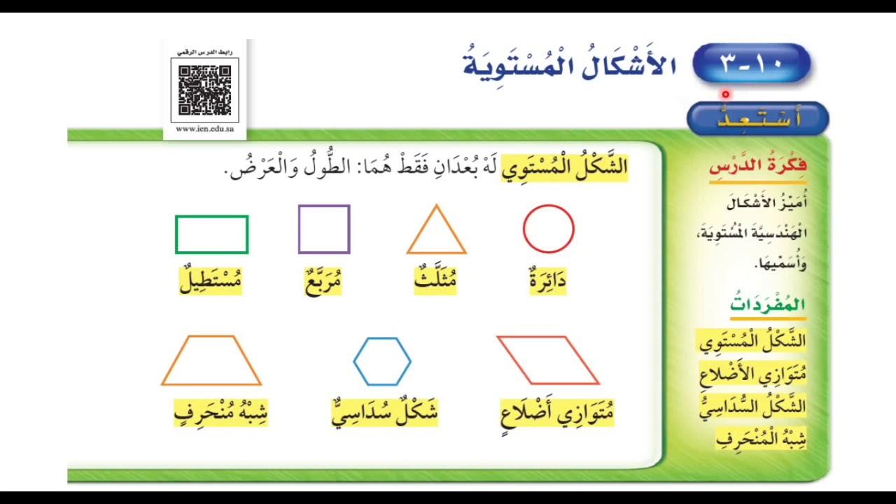 الأشكال المستوية - رياضيات الصف الثاني ابتدائي الفصل الدراسي الثاني