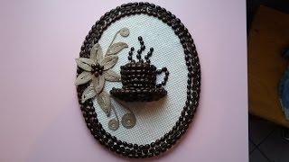 Tutorial tablou cu sfoara si cafea pentru bucatarie---Tutorial picture with string and cof ...