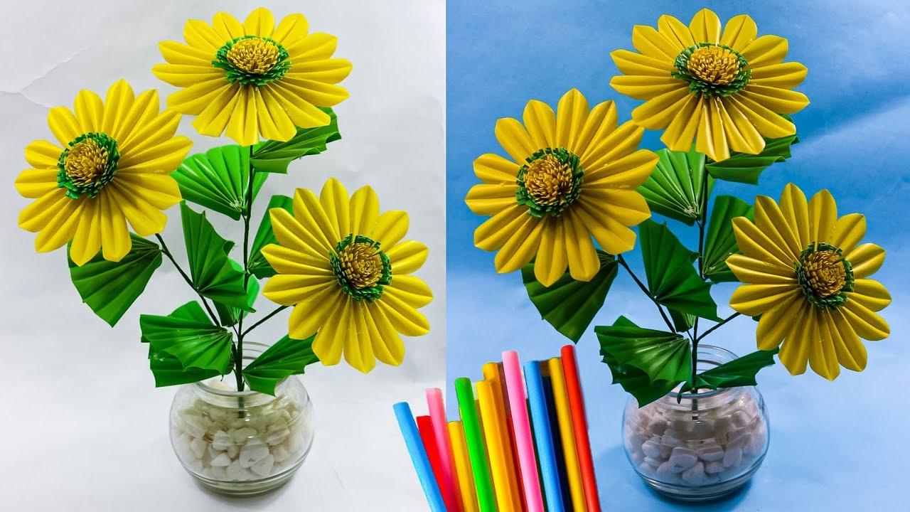 Cara Membuat Bunga Matahari Dari Sedotan Cara Baru Diy Sun Flower With Straws Youtube