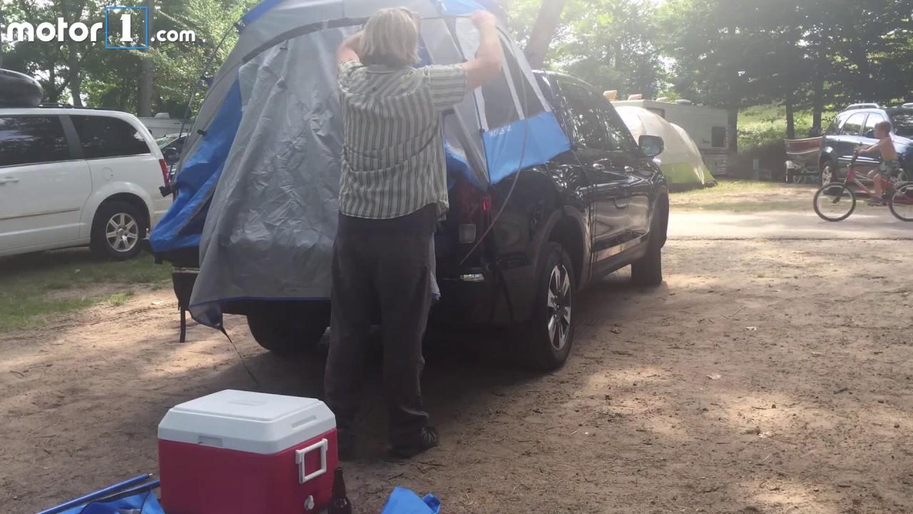 2017 Honda Ridgeline Tent Accessory Setup Timelapse