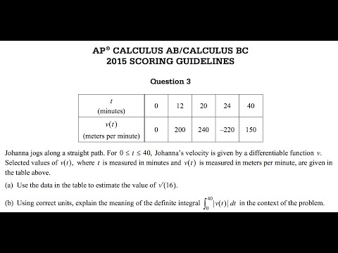 2015 AP Calculus AB BC Free Response question 3