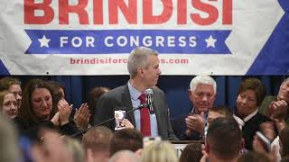 Anthony Brindisi celebrates victory in the 22nd Congressional District