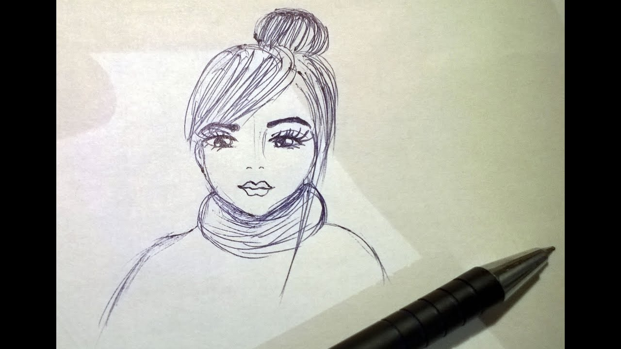 Line Drawing Of Sad Face : Drawing sad doll with scarf youtube
