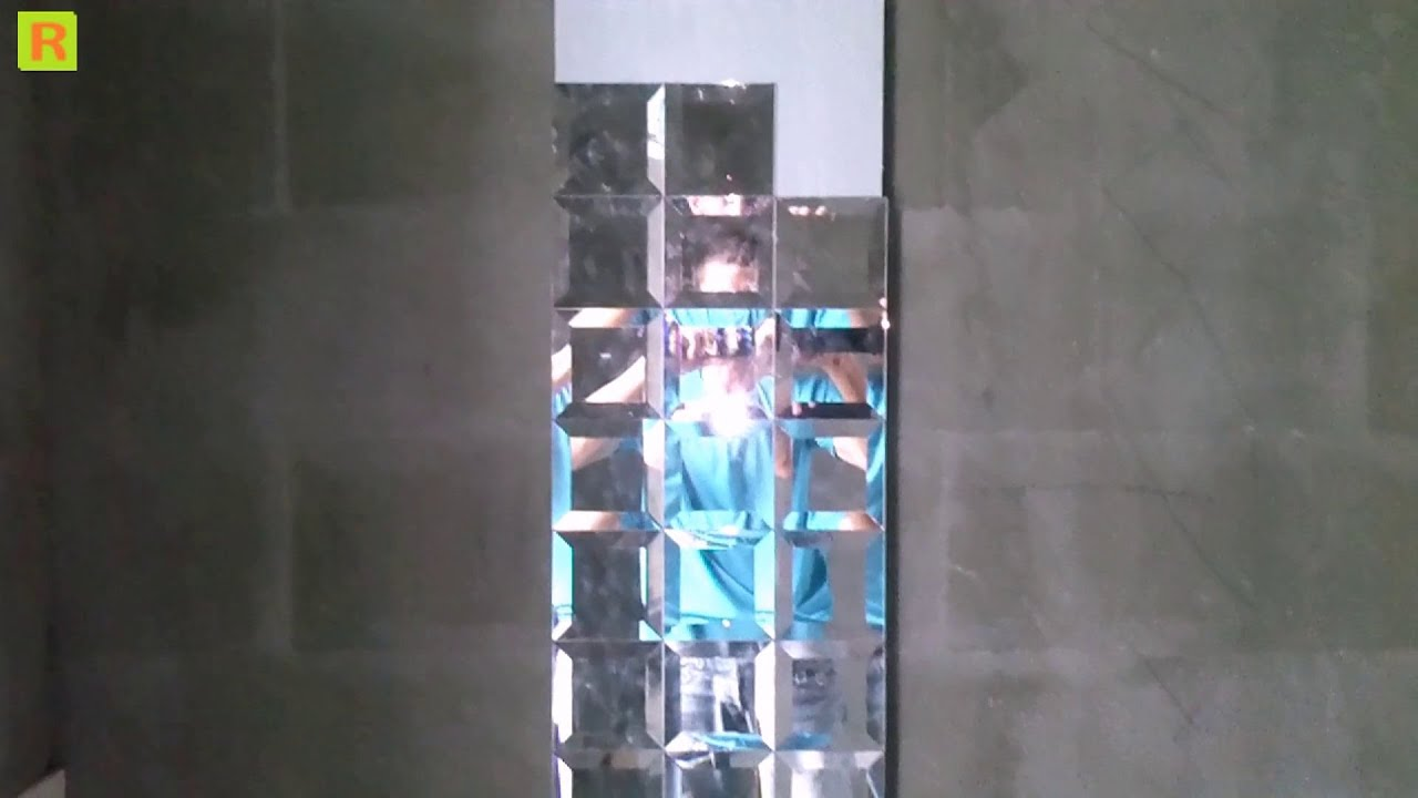 Как клеить <b>зеркало</b>-плитка в ванной комнате - YouTube