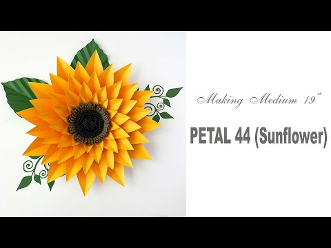 "How to Make 19"" Medium Sunflower from Paper Flower Template 44"
