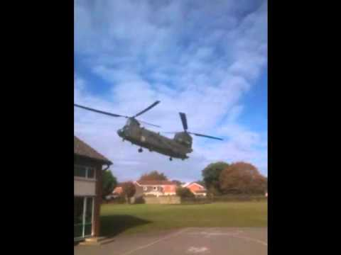Chinook Helicopters Take Off from Old Catton