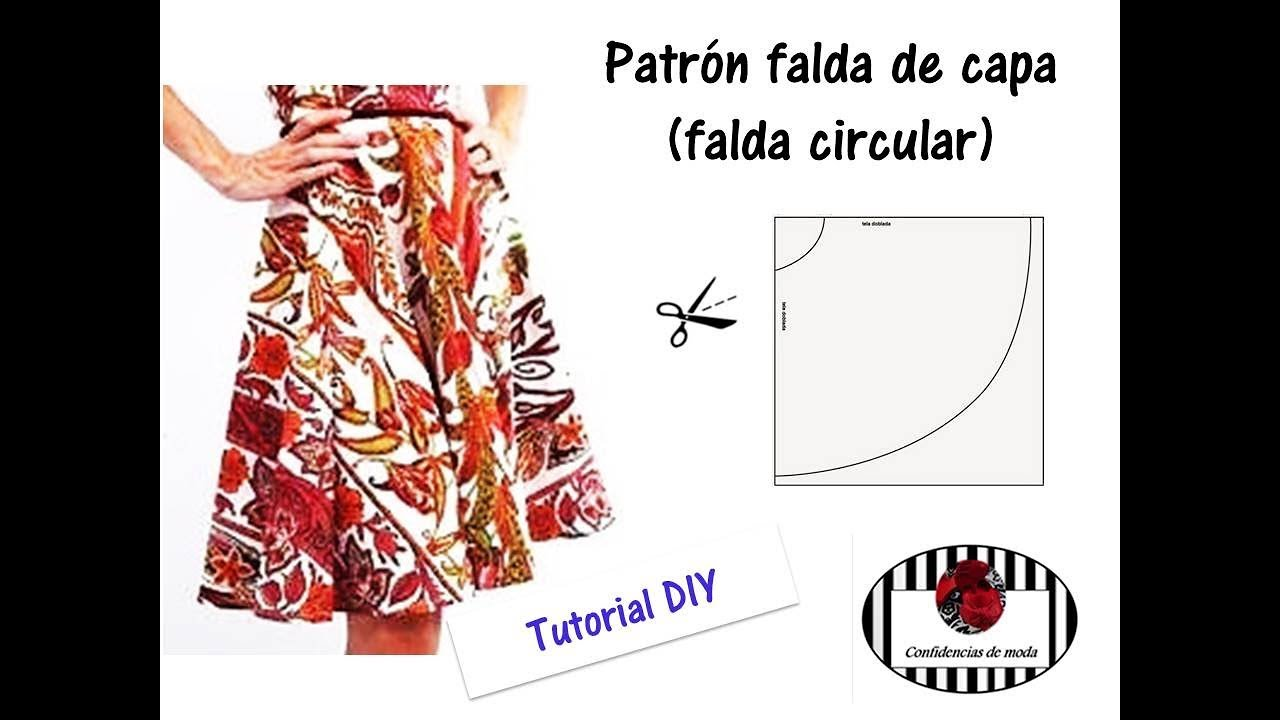 DIY Costura. Patrón falda de capa (facilísimo) - YouTube