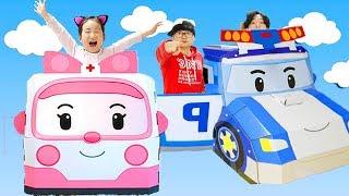 폴리 엠버 종이하우스 타면 어디든지 갈수 있어요!! 전주에 가서 예쁜 한복도 입고 플레이하우스도 만들고 놀이동산도 가요! Robocar POLI Paper Toy