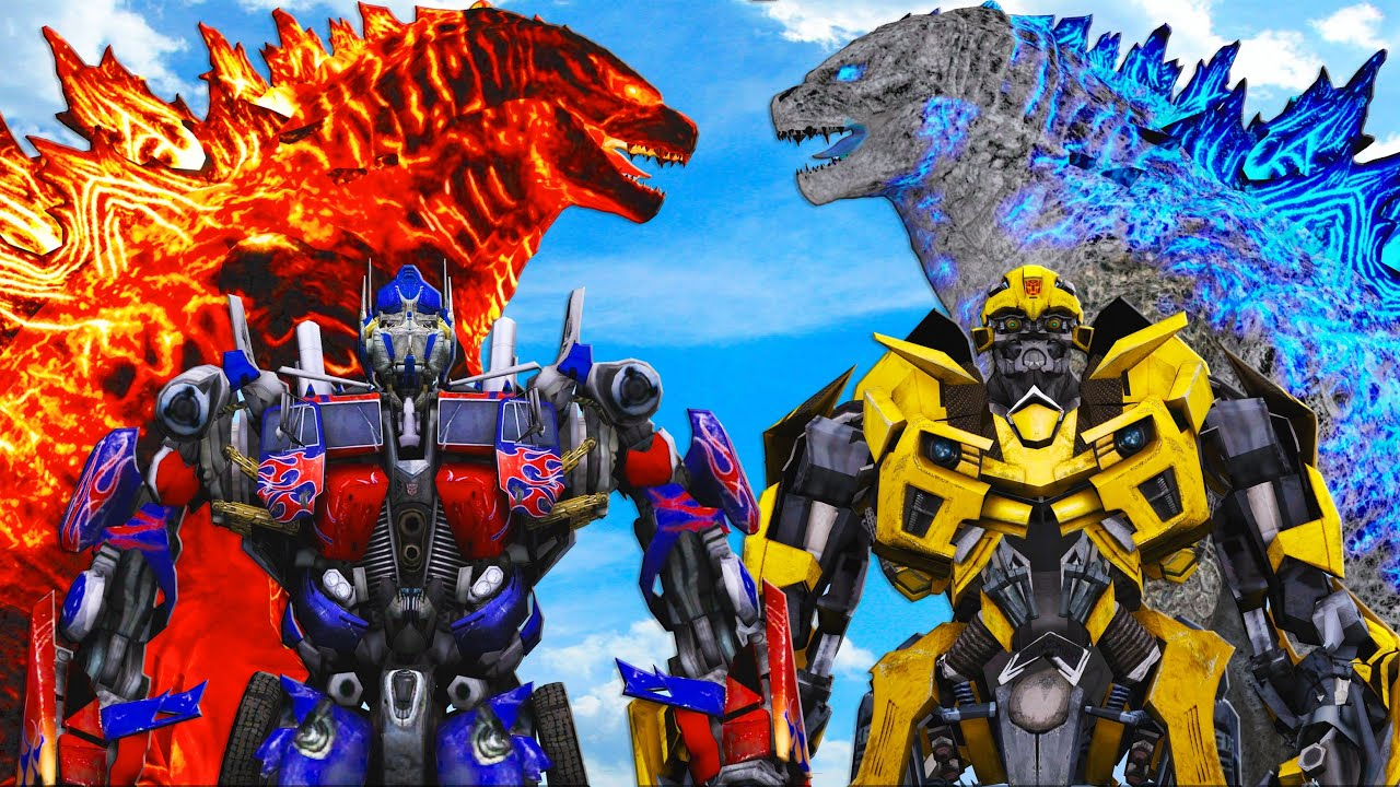 Download Godzilla Fire & Godzilla Ice VS Optimus Prime & Bumblebee (Transformers)