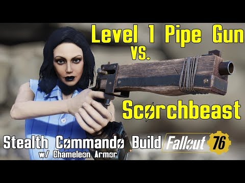 Fallout 76: Killing Scorchbeasts with Level 1 Pipe Rifle - Stealth Commando Build thumbnail