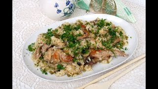 Кролик с рисом и зеленым горошком. Домашний ресторан