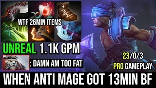 13Min Battle Fury [Anti-Mage] Unreal 1060GPM 26Min Full Items 23Kills Never Die NEXT LVL DOTA 2