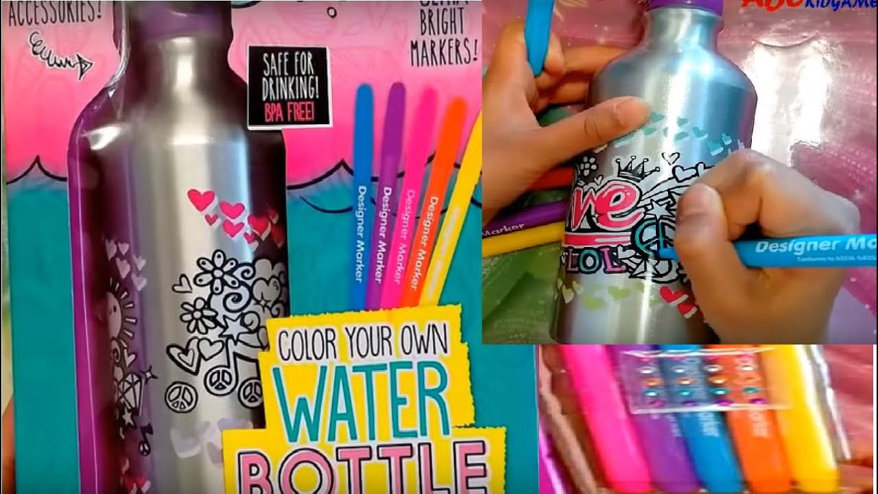 Color your own water bottle your decor diy clips onto for Decor water bottle