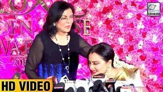 Rekha Shows Respect To Zeenat Aman At Lux Golden Rose Awards 2018   LehrenTV