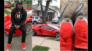50 Cent Gets Lamborghini Shoes To Match His Car