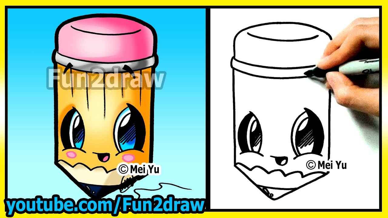 How to draw easy things pencil cartoon drawing tutorials fun2draw kawaii