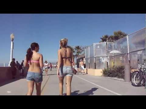 San Diego Mission Beach Boardwalk Bike-Cam (to La Jolla)  Part 1