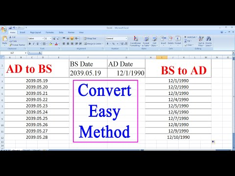 How To Convert BS To AD And AD To BS || Converting Date From AD To BS And BS To AD In Excel