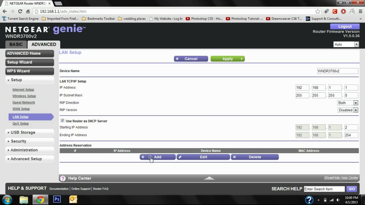 How to assign an internal static IP for a Netgear Router