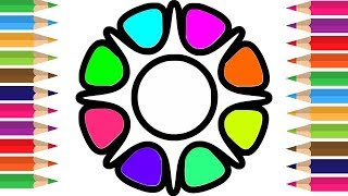 Learn Colors for Childrens with Drawing Flowers Coloring Pages | How to Draw Flower for Kids