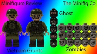 Custom Lego Minifigure Review: TheMinifigCo Zombie Heads, Ghost Heads and Vietnam Minifigures