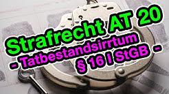 Tatbestandsirrtum § 16 StGB - Strafrecht AT 20