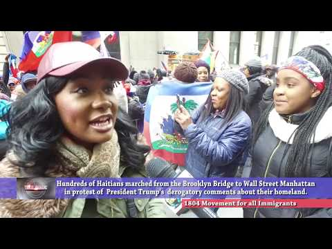 Haitians in Wall Street protesting against President Donald Trump