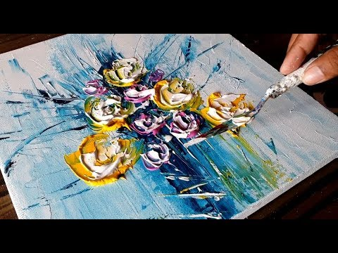 Simple Floral Abstract Painting / Fun with Acrylics / Project 365 days / Day #0157 / Demonstration