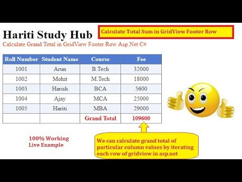New Way to Calculate Grand Total in GridView Footer Row Asp Net C# | Hindi  | Free Online Learning