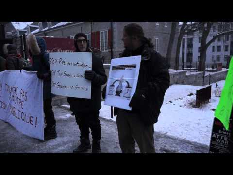 Anti-Pipeline Protest During Justin Trudeau Visit To Montreal City Hall 00048