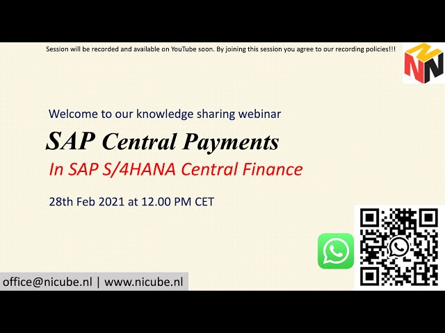 SAP Central Payment - Knowledge Sharing Webinar
