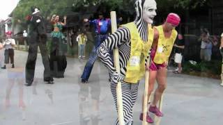 Stilt walking record attempt by Cirque du Soleil at Downtown Disney