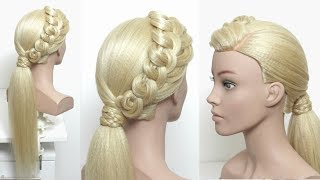 Fancy Low Ponytail.  Prom Hairstyles. Hair Tutorial