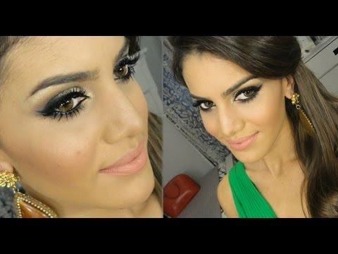 Maquiagem para madrinha de casamento com vestido verde