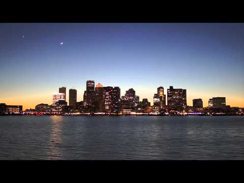Boston financial district at twilight