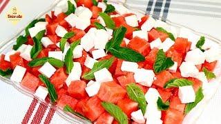 Летний салат. Вкусный салат из сыра и арбуза. Самый простой салат. Арбузная диета. Моя Dolce vita