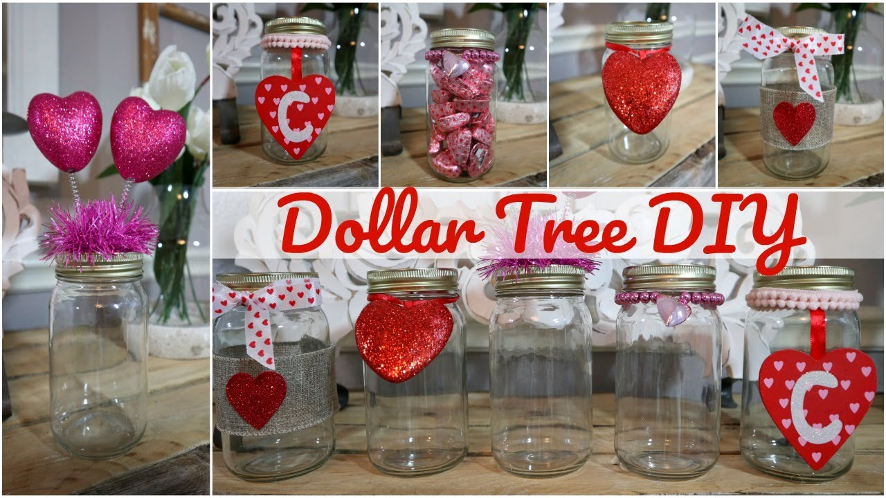 Dollar Tree Diy 5 Ways To Decorate A Mason Jar Valentine S Day Youtube