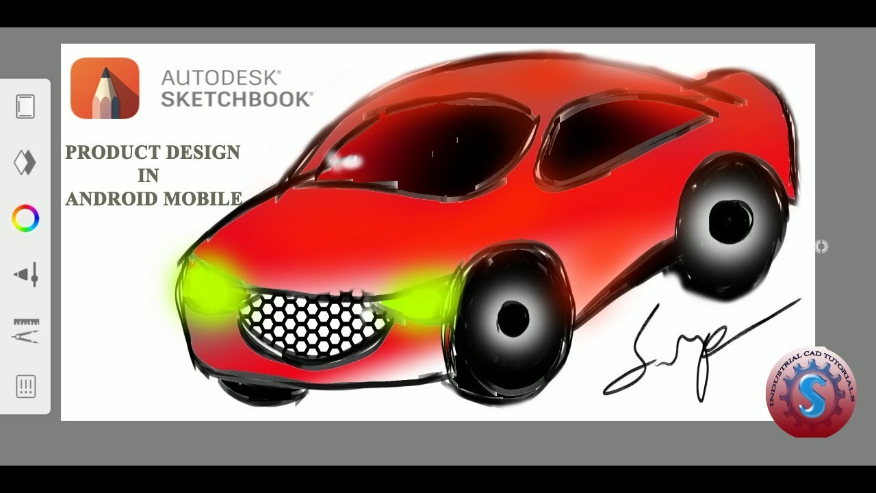 CAR PRODUCT DESIGN TUTORIAL IN ANDROID MOBILE || AUTODESK SKETCHBOOK