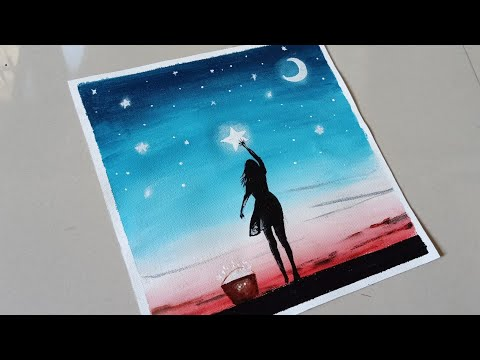 Beautiful moonlight scenery painting with acrylic / easy acrylic panting for beginners