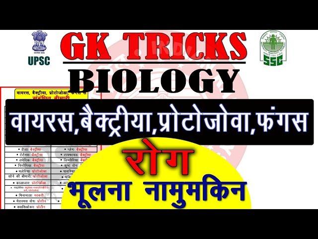 Biology Gk tricks: Disease caused by Virus Bacteria Protozoa Fungi | General Science | online school
