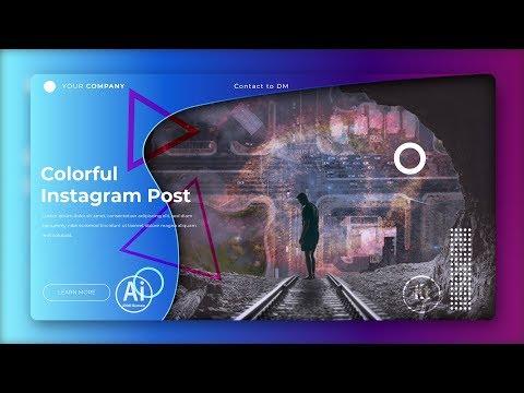 Instagram Yatay Post Design #3 - Instagram Ad - Adobe Illustrator CC Tutorial thumbnail