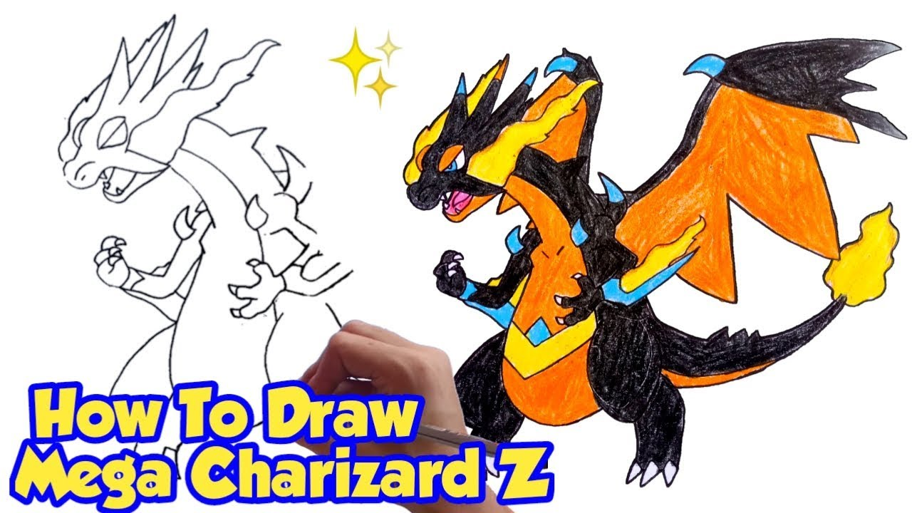How To Draw Mega Charizard Z X Y Fusion Pokemon Step By Step Drawing Youtube