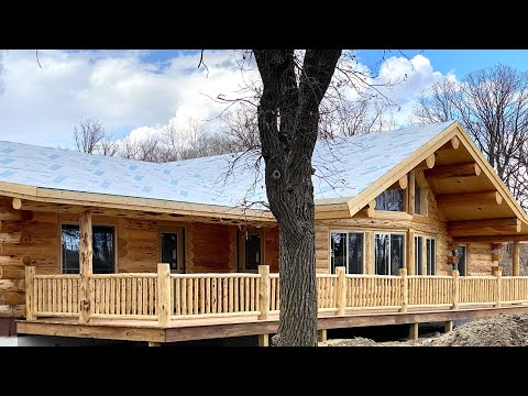 Log Home Single Level Tour- Meadowlark's Lakeside Dried-In
