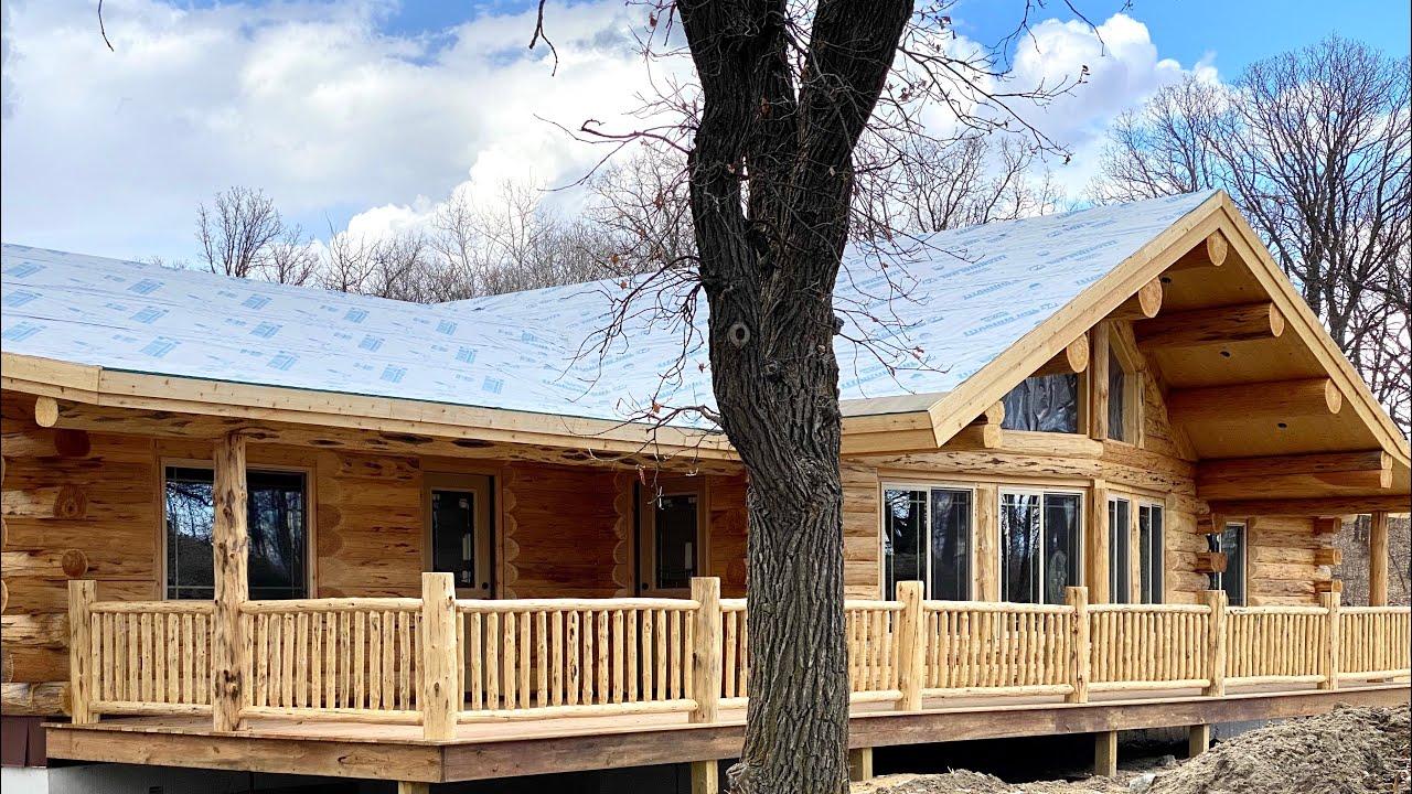 Log Home Single Level Tour- Meadowlark's Lakeside Dried-In